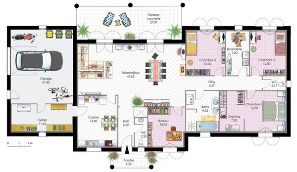 Finest good plan interieur maison moderne with plan maison for Plan maison moderne 200m2