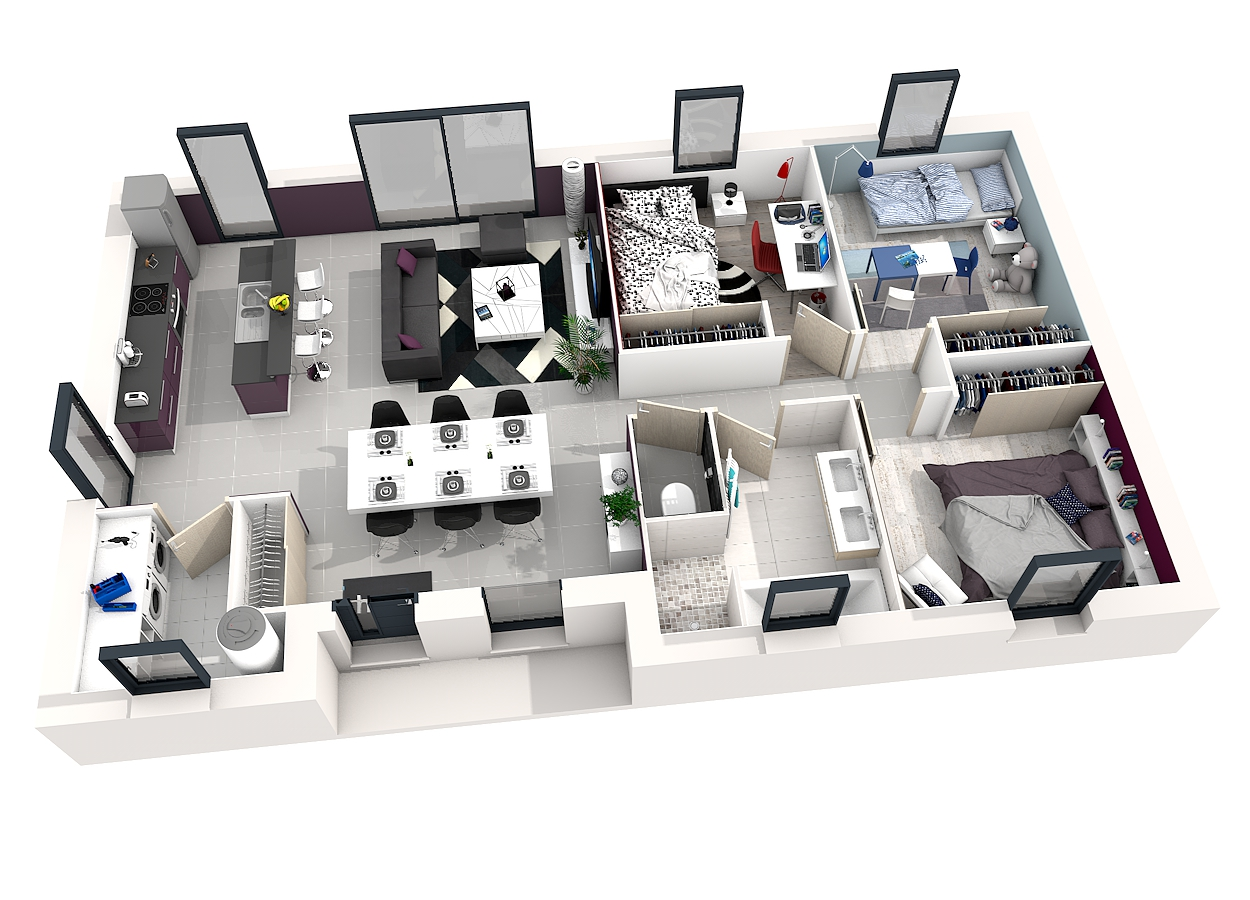 Un plan maison 3d gratuit en ligne l 39 impression 3d for Plans maison 3d
