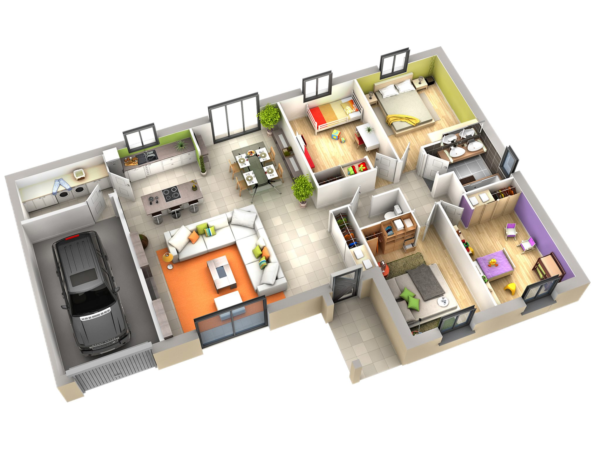 Plan interieur de maison l 39 impression 3d - Plan interieur maison ...