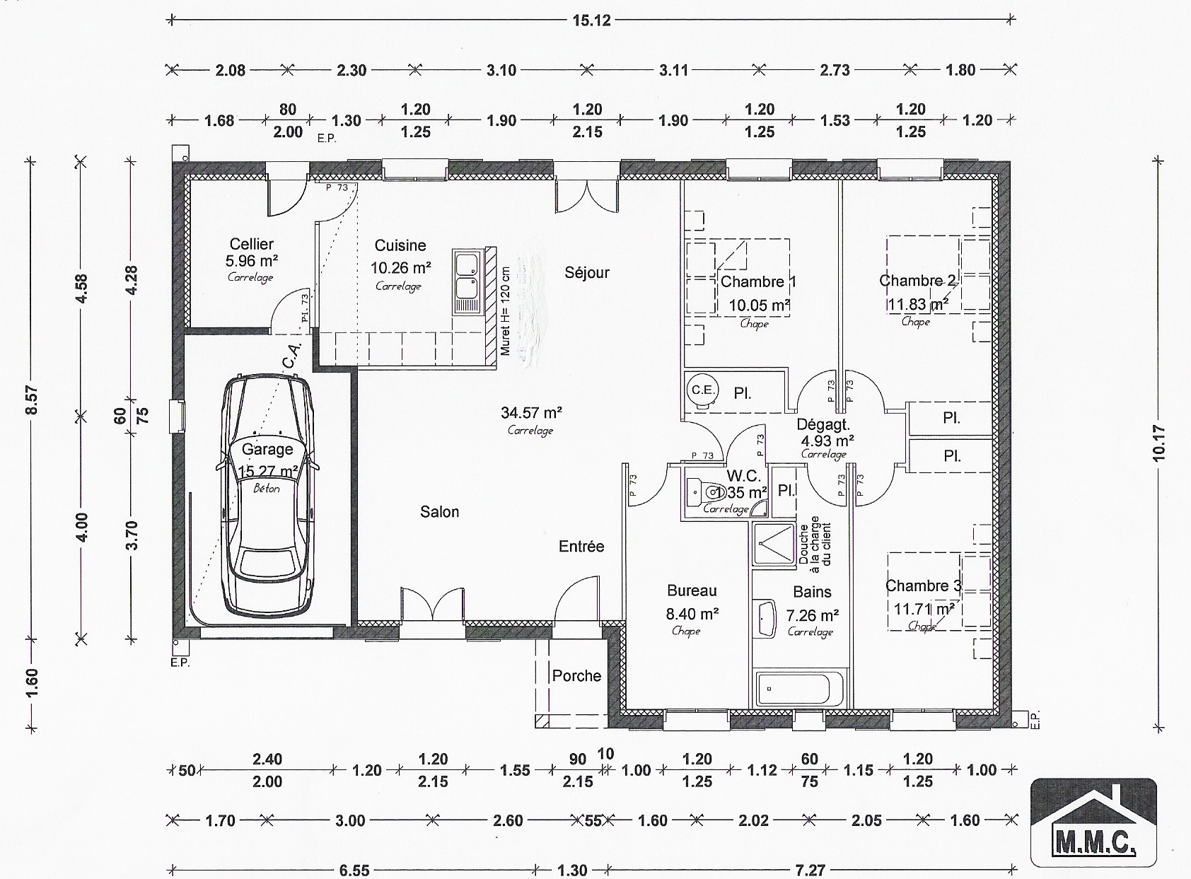 Plan de maison simple l 39 impression 3d for Plan maison 80m2 3 chambres