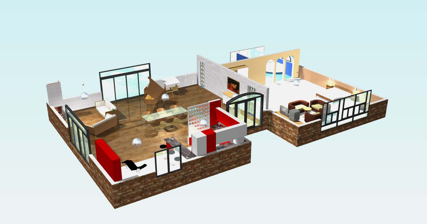 Plan 3d maison plain pied l 39 impression 3d for Plans de maison 3d
