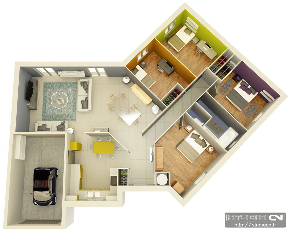 Un plan chambre 3d l 39 impression 3d for Google plan maison