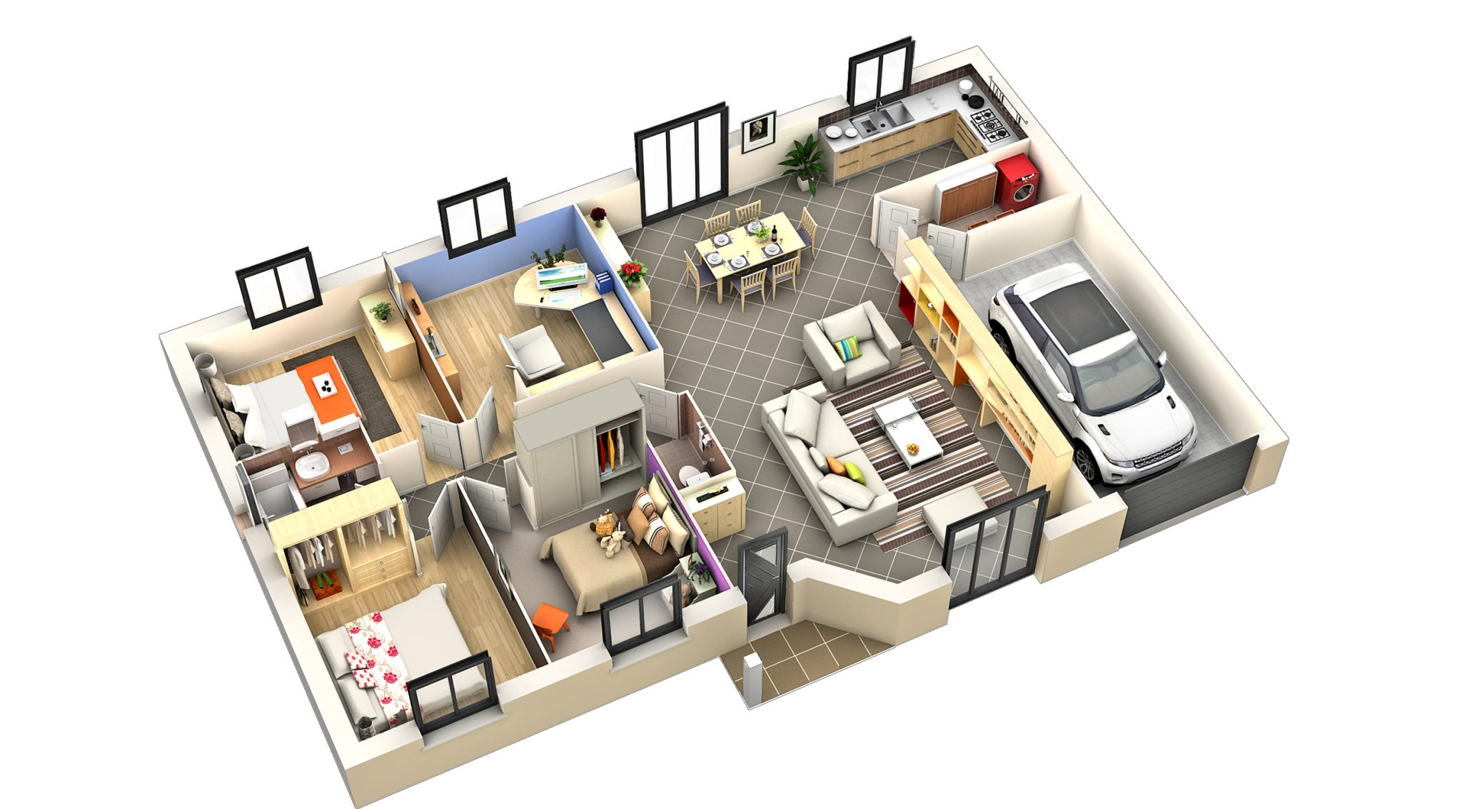 Plan interieur maison plain pied l 39 impression 3d for Plan maison interieur 3d