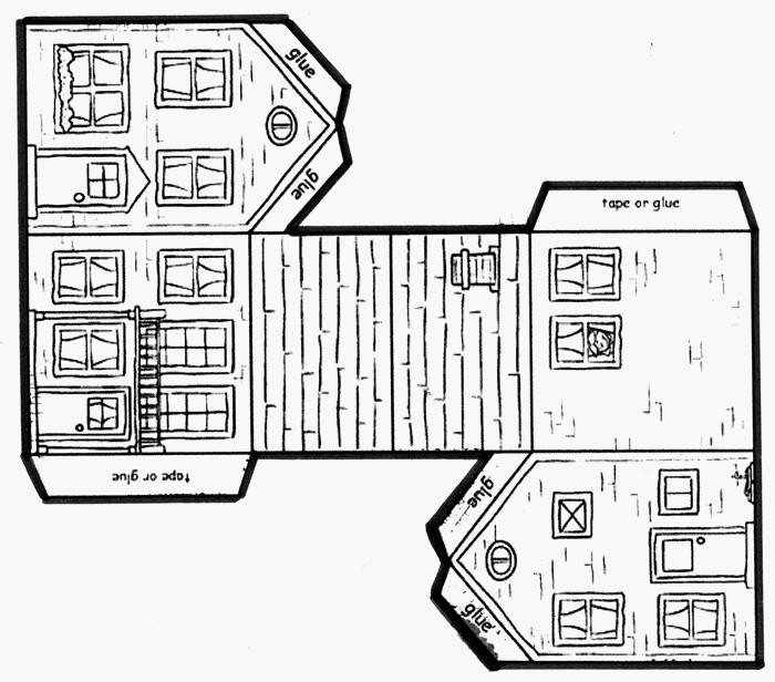 Plan maquette maison carton l 39 impression 3d - Patron maison en carton ...