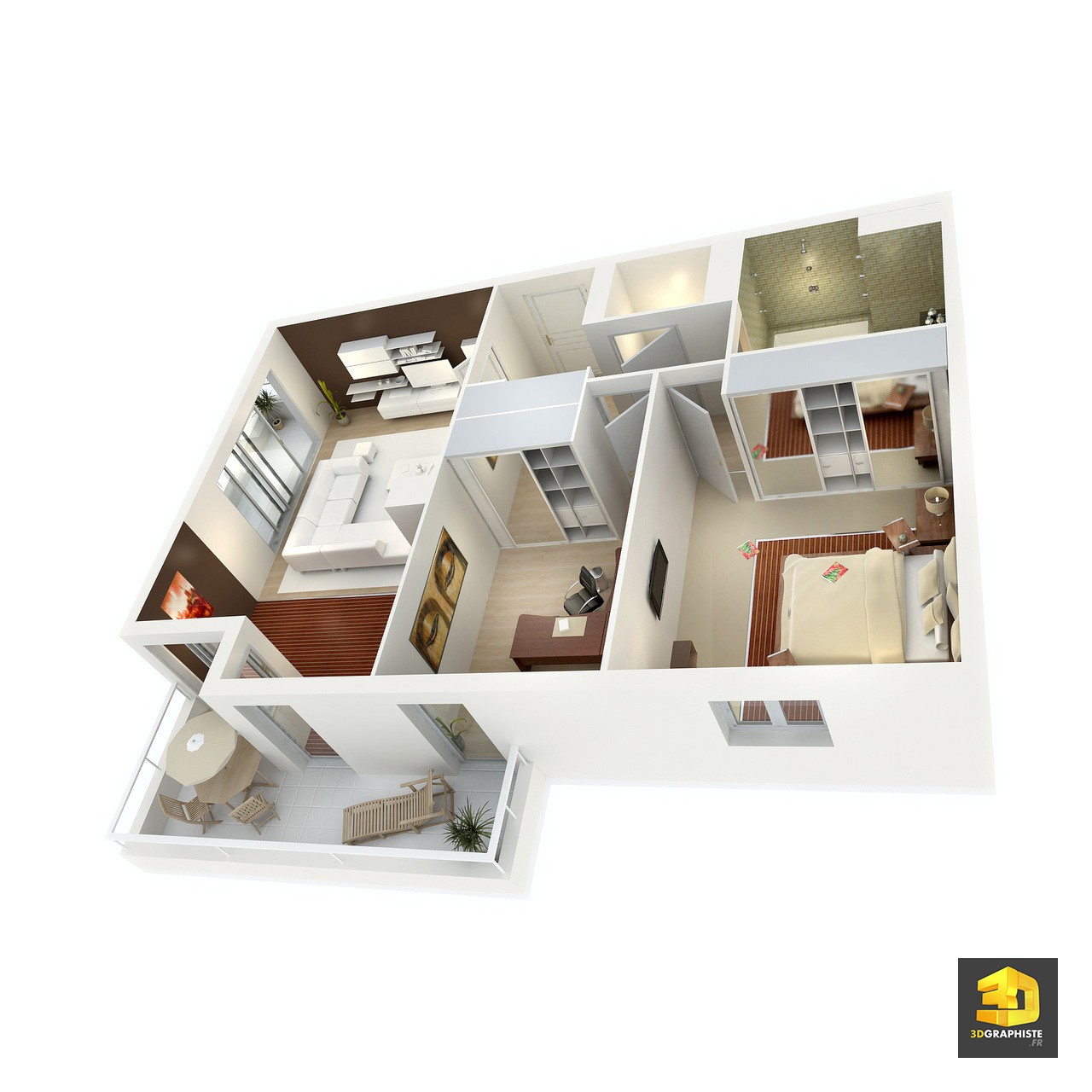 Creation de plan 3d l 39 impression 3d for Plan appartement 3d