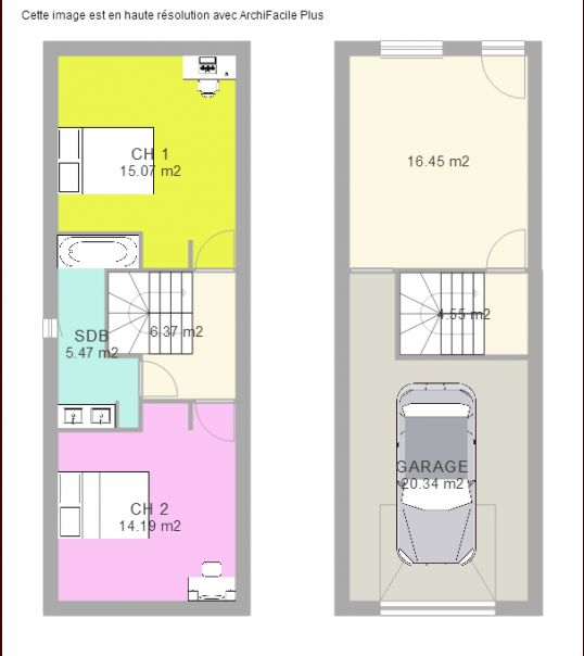 Plan maison plain pied 50m2 good plan maison m with plan for Plan maison plain pied 50m2