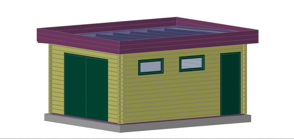 plan garage toit plat l 39 impression 3d. Black Bedroom Furniture Sets. Home Design Ideas