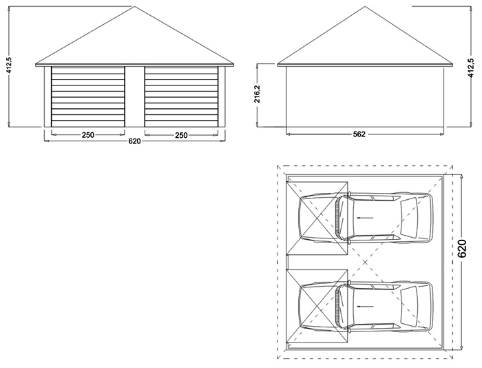 Plan pour garage 2 voitures l 39 impression 3d for Garage 2 places dimension